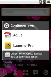 LauncherPro : Choix de la Home