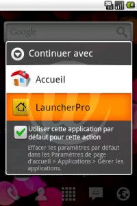 LauncherPro : Action par défaut