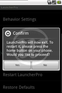 LauncherPro : Confirmer le redémarrage