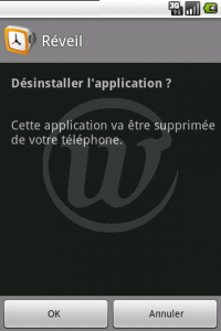 LauncherPro : Confirmer la désinstallation