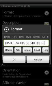 Format des lignes de scan à insérer personnalisable