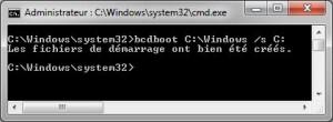 bcdboot C:\Windows /s C: