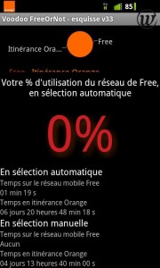 Répartition du temps de connexion entre Orange & Free